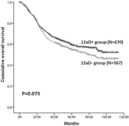 Kaplan-Meier survival analysis of patients between 12aD+ group and 12aD–group for overall patients (P = 0.075).