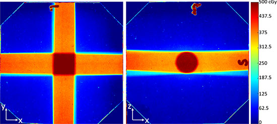 The dose distribution from 4 evenly separated beams.