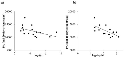 The relationship between total physical activity (PA), fat mass and circulating leptin levels in mice where protein levels were restricted by 20%, 30% or 40% (20PR, 30PR and 40PR).
