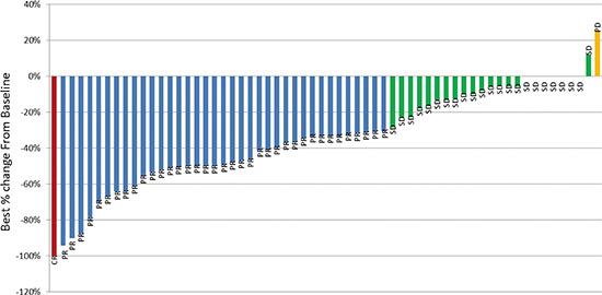 Maximum best change in tumor size from baseline.
