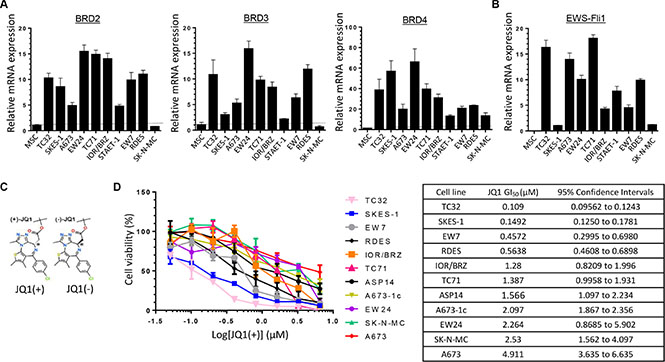 Ewing Sarcoma cell lines overexpress BRD2, BRD3, BRD4 and EWS-Fli1 at mRNAs level and are sensitive to BET proteins inhibition.
