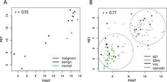Correlation between PNMT and RET.