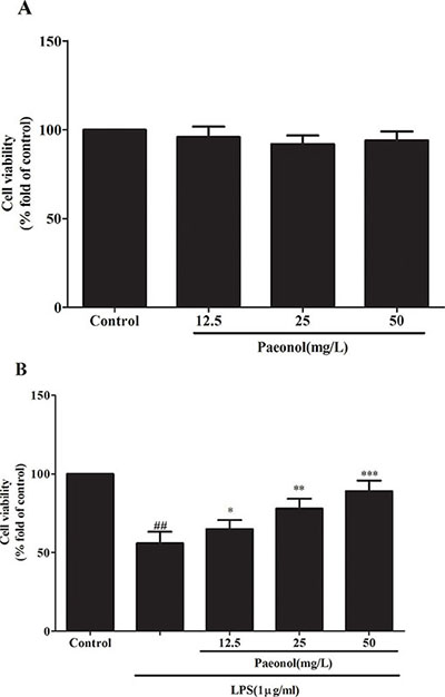The effects of paeonol on DCs viability were tested by MTT assay.