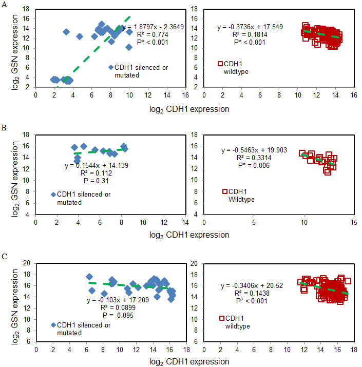 Gelsolin expression inversely correlates with wild-type E-cadherin expression.