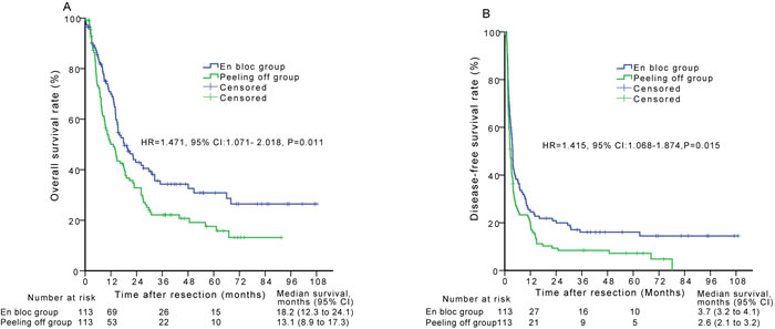 Overall survival (A) and disease-free survival (B) curves of patients in the en bloc group compared with those in the peeling off group after propensity score matching analysis.