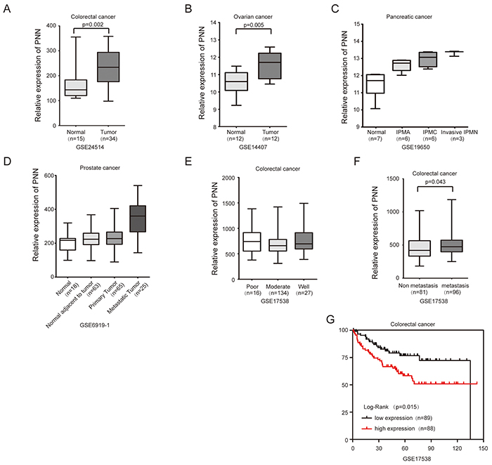 PNN overexpressed in tumors and is associated with the prognosis of CRC.