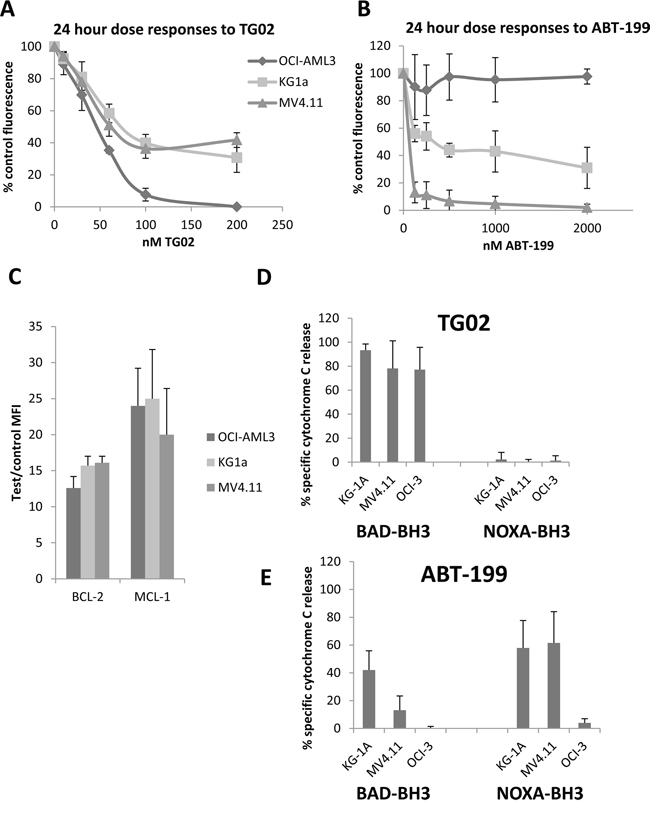 Responses to TG02 and ABT-199 and complementary BH3 profiles in KG-1a, OCI-AML3 and MV4.11 cell lines.