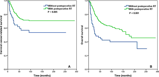 Impact of postoperative radiotherapy on cervical cancer-related survival (A) and overall survival (B) in the subgroup of cervical cancer patients with ≤ 10 removed lymph nodes and a lymph node ratio > 0.16.