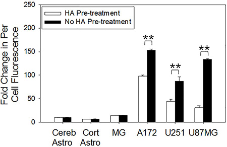 CD44 receptor saturation investigation on the rate of per cell fluorescent HALNP uptake.