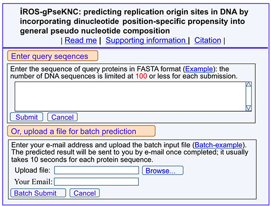A semi-screenshot for the top page of the web-server iROS-gPseKNC at http://www.jci-bioinfo.cn/iROS-gPseKNC.