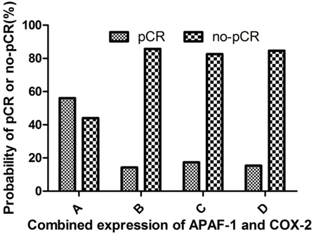 Correlation between the pCR and combined expression of APAF-1 and COX-2 genes.