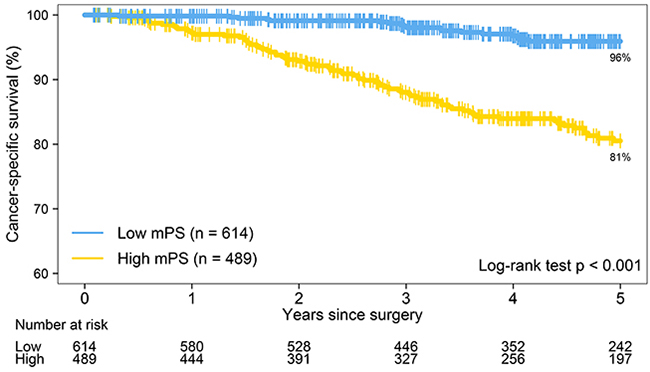 The Kaplan-Meier survival estimates for patients with low molecular prognostic score (mPS; N = 614) and high mPS (N = 489) show that the 5-year lung cancer–specific survival rate is 96% for patients with low mPS and 81% for patients with high mPS (P < 0.001).