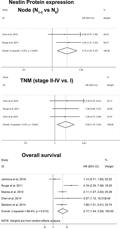 Forest plot for associations of Nestin with clinicopathological features and overall survival in NSCLC.