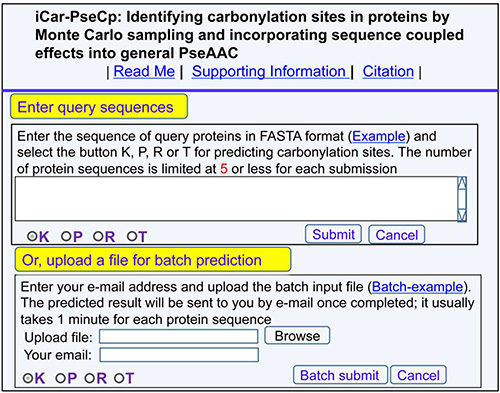 A semi-screenshot of the top-page for the web-server iCar-PseCp at http://www.jci-bioinfo.cn/iCar-PseCp.