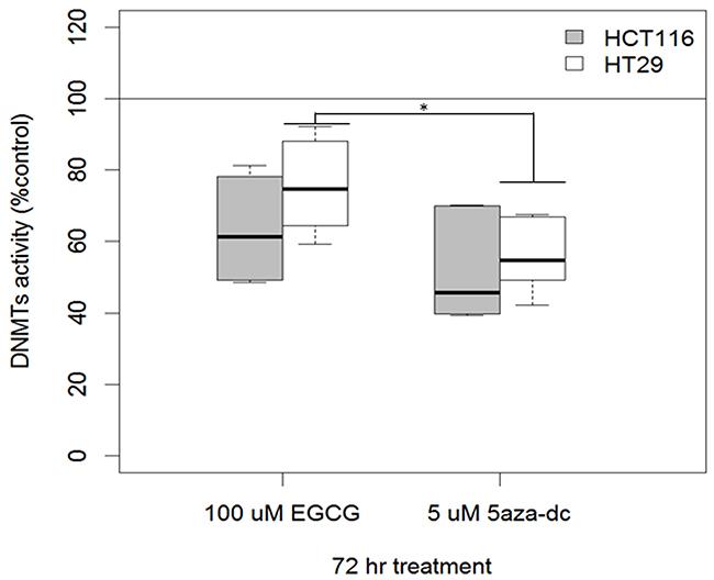 EGCG treatment decreases DNMT activity (DNMT1, DNMT3a, DNMT3b) in human colon cancer cell lines.