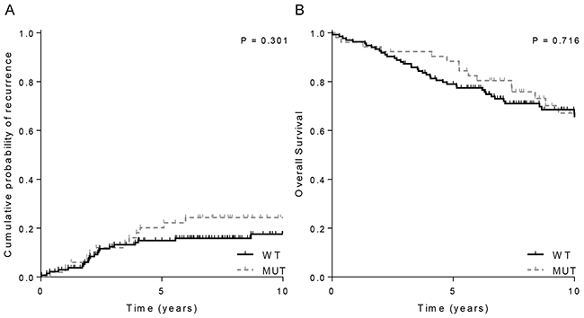 Clinical outcome of 198 MSI endometrial cancer stratified by JAK1 mutations status.