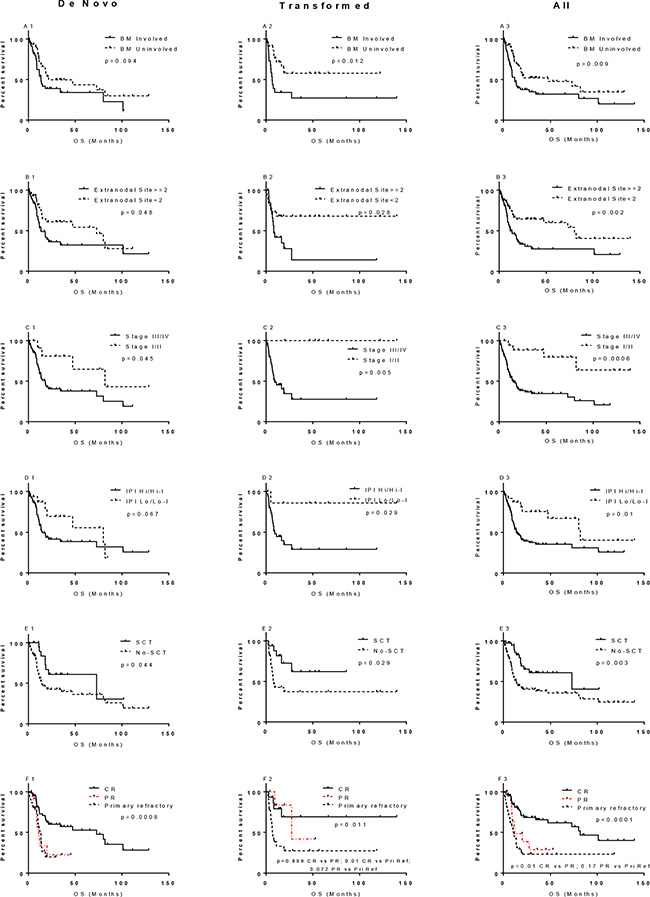 Prognostic significance of bone marrow (BM) involvement, extranodal involvement, stage, IPI, SCT, and CR in overall survival of MYC/BCL2 lymphoma.