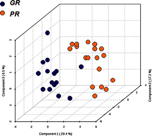 Partial least squares discrimination analysis (PLS-DA) graph used to distinguish the metabolomics profile of the two groups GR (n = 15) and PR (n = 19).