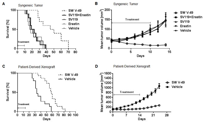 SW V-49 reduces tumor growth and improves median survival in murine models of pancreatic cancer.