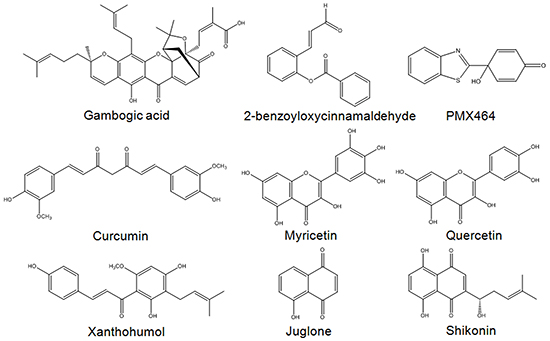 Examples of Michael acceptor moiety-containing compounds reported to possess TrxR inhibitory activities.