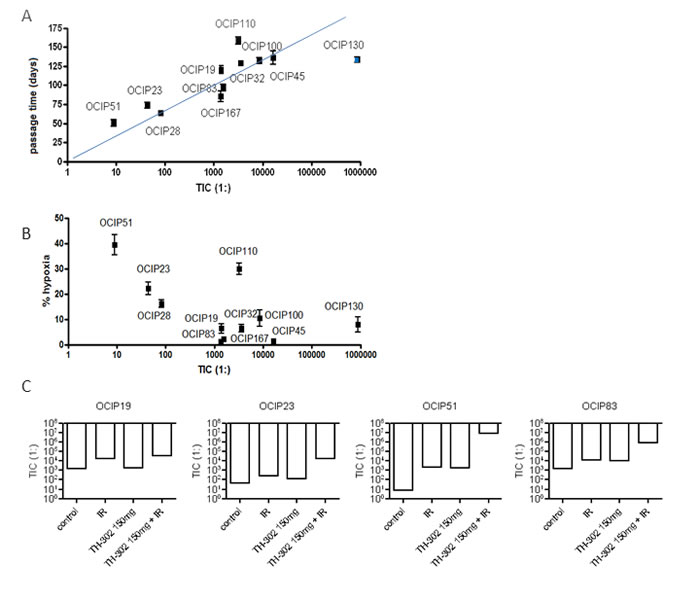 TIC frequency strongly correlates with tumor growth rate but not hypoxia.