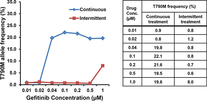 Differences in the frequency of the EGFR T790M mutation in the two cell lines established with continuous or intermittent exposure to gefitinib.