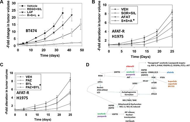 ERBB1/2 inhibitors and PI3K inhibitors enhance the lethality of [sorafenib/pazopanib/regorafenib + sildenafil] in mammary carcinoma cells.