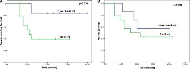 Kaplan-Meier curves comparing OS and PFS among patients with and without a history of smoking.