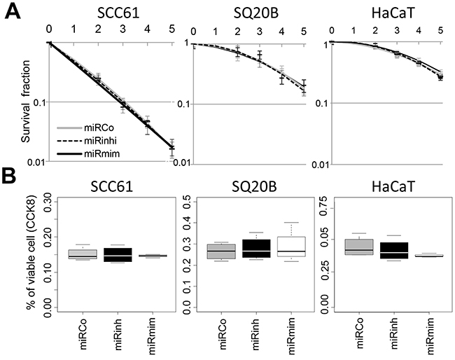 MiR-422a does not modulate cell response to irradiation.