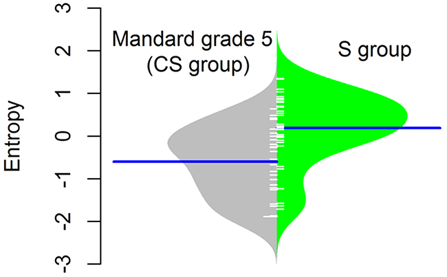 Normalised DNA copy number entropy distribution comparing the surgery alone (S group) samples with no pathological response (Mandard tumor regression grade 5) with samples after chemotherapy (CS group).