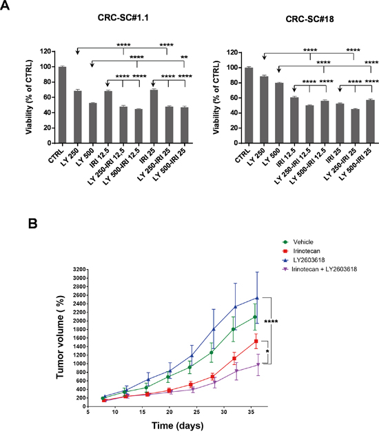Treatment with the Chk1/2 inhibitor LY2603618 enhances the efficacy of irinotecan in vitro and in vivo.