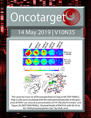 Cover for Oncotarget Issue V10N35