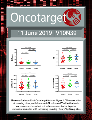 Cover for Oncotarget Issue V10N39