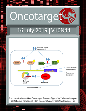 Cover for Oncotarget Issue V10N44