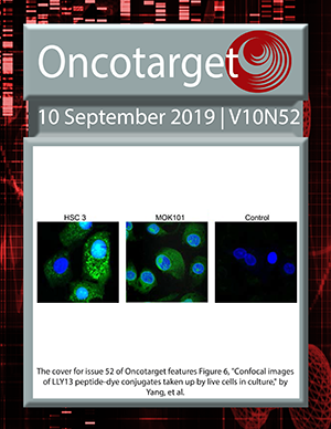 Cover for Oncotarget Issue V10N52
